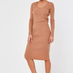 NWT Missguided Camel Ribbed Midi Pencil Skirt